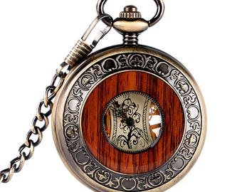 Pocket Watch Bronze or silver up mechanical watch