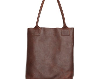 Handmade oiled Mahogany rich chocolate brown cowhide leather floppy shopper TOTE lap top bag Unisex, Rugged