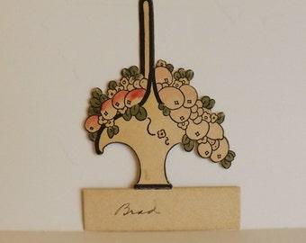 Art Deco vintage place card fruit and flower basket ephemera