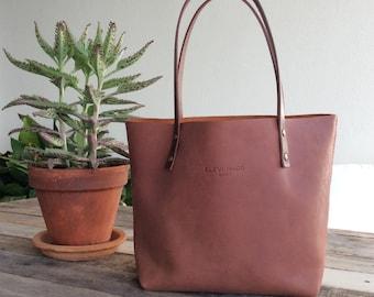 Medium Leather Tote bag. 100% Handmade. Tan tote bag