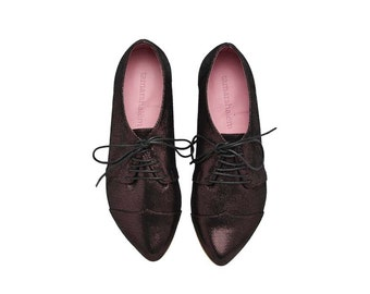 Purple Shiny oxford leather shoes, Polly Jean flat women's shoes