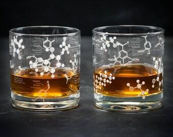 Lowball Whiskey Chemistry Glass, But First Whiskey, Whiskey Science Whisky Bourbon Single Malt Rye Nerd Gift, gifts for him, girlfriend gift