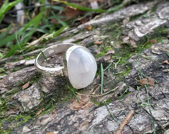 White Agate Stone Ring Silver & Handmade