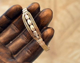 14K Gold filled wire wrapped bangle bracelet with Sterling beads. size 7.