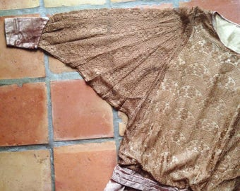 1920s drop waisted lace and velvet dress large dolman sleeves