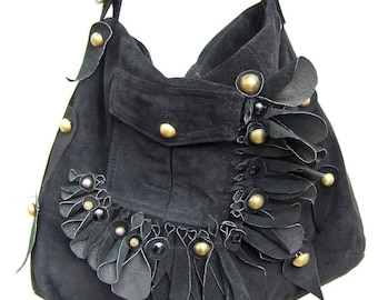 """""""Black Eagle"""" 100% recycled leather bag"""