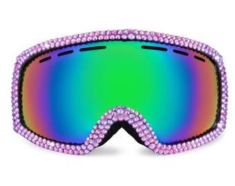 Iridescent Ruby Bling Bunny Ski Goggles