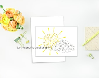 You Are My Sunshine Greeting Card Set of 10 Thank you Card You Are My Sunshine Calligraphy Sun Cloud Stationery Notecard notes