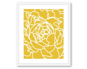Peony print, peony wall art, flower print, flower wall art, mustard yellow flower wall art, 8x10 on 8.5x11, Frame not included, Custom Color