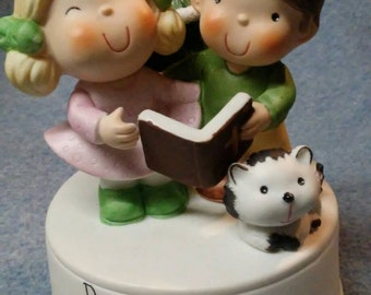 """Vintage Enesco Musical Revolving """"Dear God Christmas is Really Something to Sing About"""""""