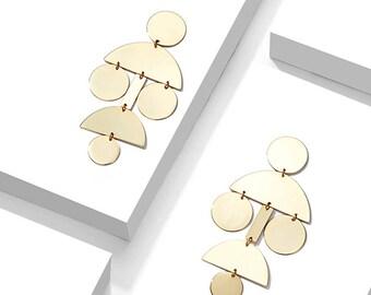 Shiny Gold Earrings Geometric Earrings Geometric Chandelier Earrings Metal Statement Earrings Metal Earrings Gold Chandeliers Janna Conner