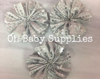Sequin fabric rosettes Set of 2