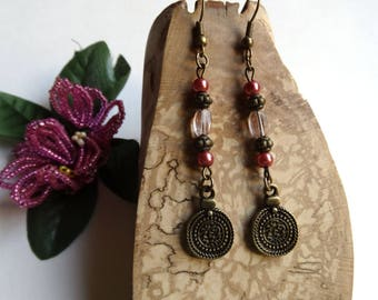 Old rose earrings bronze dangle ethnic retro / gift idea for woman