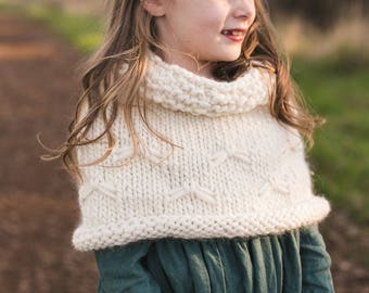 Snow Flurries Capelet Knitting Pattern, Sizes 18 mos-2T, kids 4-6, 8-10, 12, Women's XS, S, M, L, XL, 2XL, 3XL, 4XL, Chunky, Super Bulky