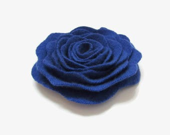 Flower Pin Cashmere Felted Wool Rose Brooch Cobalt Blue Recycled Wool Flower Pin