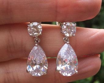 CZ Teardrop bridal earrings, classic teardrop stud earrings faux diamond drop earrings rhinestone zirconia wedding jewelry, bridal jewellery