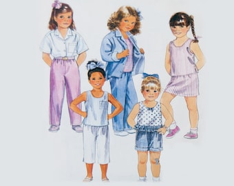 Easy girls shirt and elastic waist pant and shirt pattern, new uncut Size 5, 6 McCalls 4192