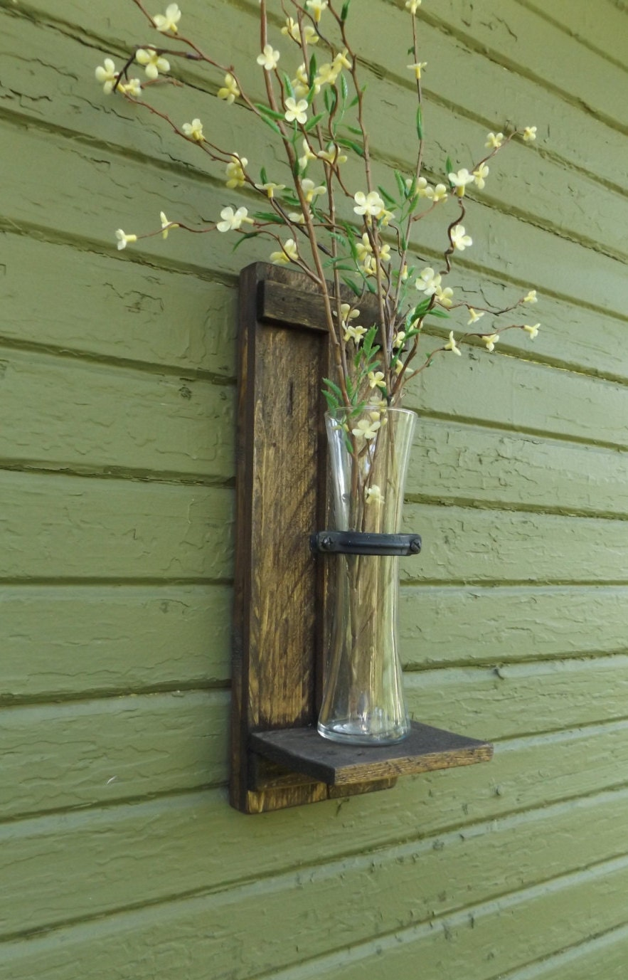 Rustic wall sconce wood wall sconce wall vase sconce vase zoom floridaeventfo Images