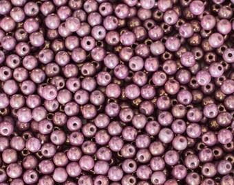 3mm Chalk White Vega Luster Round Beads, 3862, 3mm Druk, 3mm Smooth Round Chalk White Vega Luster,  100 Beads