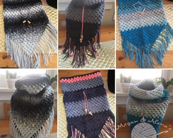 Crocheted Triangle Cowl with Fringe