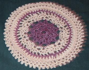 Crochet Cotton Doily, 8 Inches, Round, Lavendar and beige