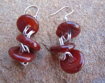 Sterling Silver dangles with Carnelian wire wrapped beads