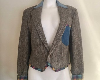 80s Wool Jacket / Gray Tweed / Preppy / Fall Fashion / Plaid Tweed / Back to School / 80s Fashion