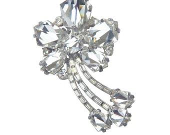 Shooting star crystal vintage brooch