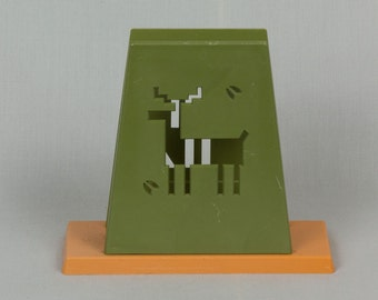 1960 Napkin Holder Vintage St. Labre Indian School Ashland Montana, Olive green and burnt orange, Cut out of TeePee, Cloud and Person, Nice