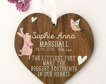 New baby girl gift, personalised wooden heart, new baby present, new baby heart, baby girl present