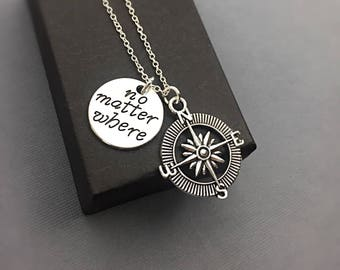 Compass Necklace, Silver Compass Charm, No Matter Where, Distance Charm Necklace, Compass Charm Necklace, Gift for Long Distance Friend