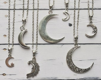 Moon Necklace / Silver Moon Necklace, Moon Necklace Silver, Moon Jewelry, Moon Jewellery, Moon Phases, Moon Choker, Crescent Moon Necklace