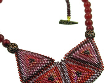 Peony One of a Kind Bead Woven Statement Necklace