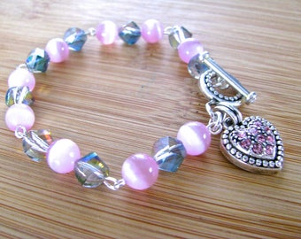 Pink Cat's Eye and Gray Rainbow Crystal Bracelet with Pink Rhinestone Heart Charm Valentine Gift