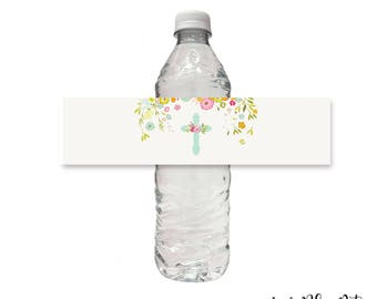 Cross Water Bottle Wrap Label, Printable, First, 1st Holy Communion, Baptism, Sticker, Religious, Easter, Floral Instant Download Digital