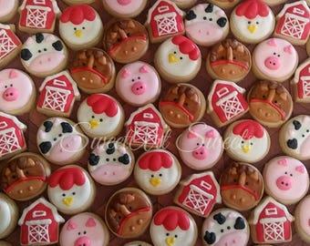 Barnyard animal cookies - farm animal cookies - barn cookies - decorated cookies - birthday cookie favors