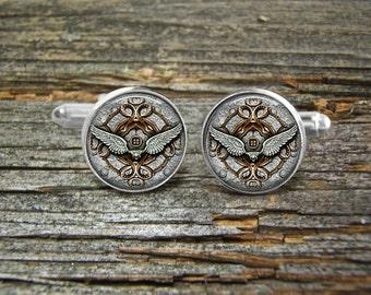 Steampunk Aviation Pilot Wings Octopus Arms Silver Cufflinks-Wedding-Jewelry Box-Silver-Keepsake-Gift-Man gift-Graduation-Men-Science-Geek