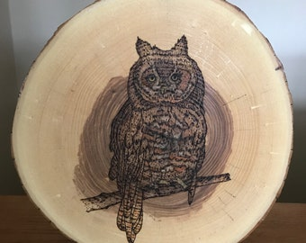 Pyrography of a Great Horned Owl