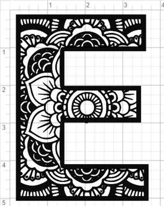 Mandala Alfabet Letter E Design Svg Pdf Eps Dxf Amp Studio 3