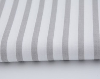 100% cotton fabric piece 160 x 50 cm, textile printing, cotton 100% light grey stripes 0.5 cm / 1 cm