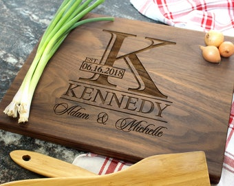 Monogram Personalized Cutting Board - Engraved Cutting Board, Custom Cutting Board, Housewarming Gift, Wedding Gift, Anniversary (040)