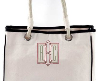 Monogrammed Canvas Rope Tote Bag Bridesmaid Beach Rope Travel
