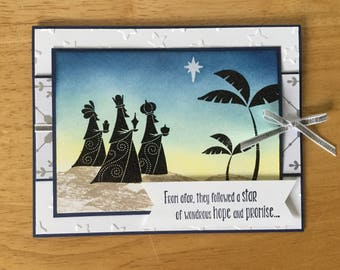 Stampin Up handmade Christmas card - wise men from afar in sunrise