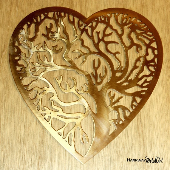 Heart Shaped Tree of Life metal wall art. powder coated steel