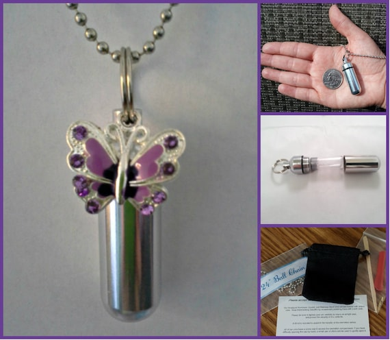 """Complete CREMATION URN Set with Purple BUTTERFLY on 24"""" Stainless Steel Ball-Chain Necklace....w/Velvet Pouch and Fill Kit"""