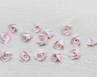 "Pink buds roses beads (10pcs), pink roses Flower beads, handmade beads, polymer clay beads diameter roses 0,24""-0,28"" (0,6-0,7cm) rose beads"