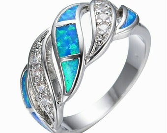 Blue sapphire crystal fire Opal ring 925 sterling silver