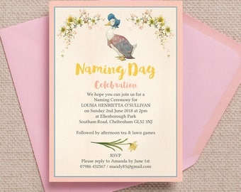 Personalised Jemima Puddle Duck Beatrix Potter Naming Day Invitation Cards