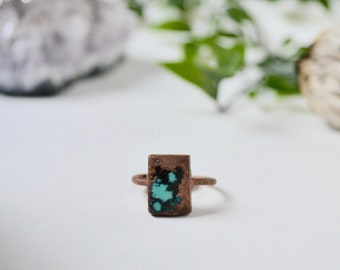 Magnesite Turquoise & Copper Ring Size 7