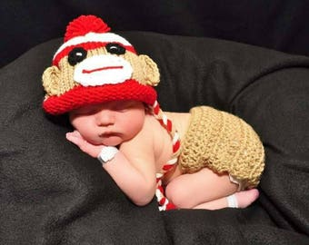 Baby Boy Monkey Outfit Sock Monkey Newborn Crochet Monkey Outfit newborn boy photo outfit crochet baby outfit crochet baby boy photo prop